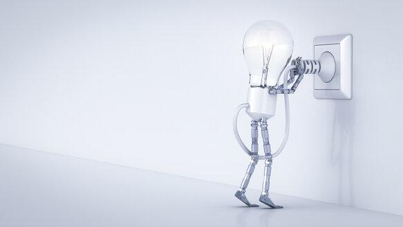 Electric bulb manikin putting plug in socket - AHUF000239