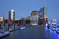 Germany, Hamburg, view to Columbus House, Kehrwiederspitze and Elbphilharmonie at Hafencity - WIF003361