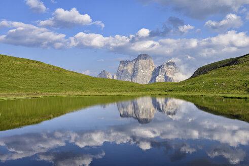 Italy, Province of Belluno, Dolomites, Selva di Cadore, Monte Pelmo reflecting in Lago delle Baste - RUEF001737