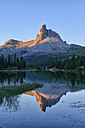 taly, Dolomites, Belluno, mountain Becco di Mezzodi reflecting in Federa Lake at sunset - RUEF001740
