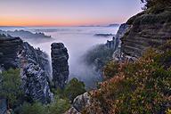 Germany, Saxon Switzerland National Park, Bastei, Hoellenhund at Raaber Kessel at sunrise - RUEF001746