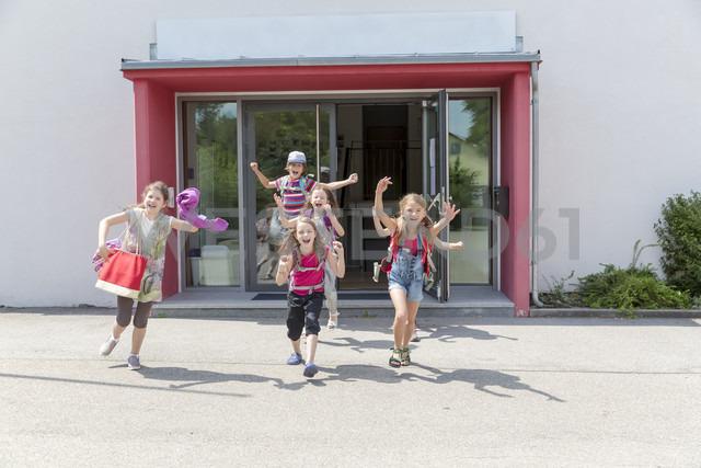 Happy pupils leaving school - SARF02902