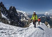 France, Chamonix, Alps, Petit Aiguille Vert, mountaineers - ALRF00707