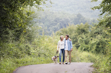 Senior couple on a walk with dog in nature - HAPF00868