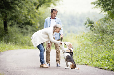 Senior couple with dog in nature - HAPF00874