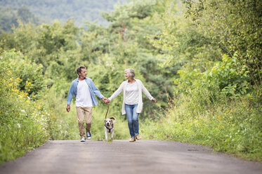 Senior couple on a walk with dog in nature - HAPF00880