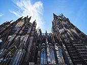 Germany, Cologne, view to Cologne Cathedral from below - KRPF01820