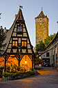 Germany, Rothenburg ob der Tauber, view to Gerlachschmiede and Roeder Tower in the background - WGF00965