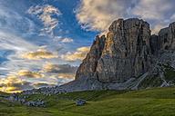 Italy, Dolomites, Mountain Lastoi de Formin at sunset - LOMF00394