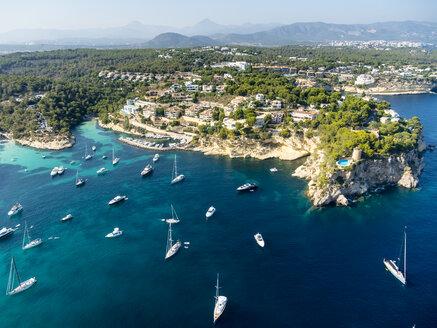 Spain, Mallorca, Palma de Mallorca, Aerial view, El Toro, Villas and yachts near Portals Vells - AMF04983