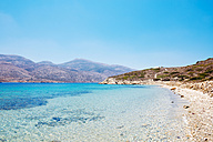 Greece, Cyclades, Amorgos, eooden dock and Aegean Sea in Nikouria island - GEMF01027