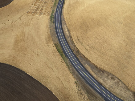 USA, Washington State, Palouse hills, road between wheat fields - BCDF00021