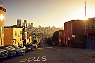 USA, California, San Francisco, view along Filbert Street on Russian Hill in evening light - BRF01362