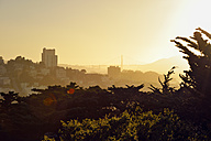 USA, California, San Francisco, view from Telegraph Hill on Russian Hill and Golden Gate Bridge in evening light - BRF01365