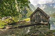 Germany, Bavaria, boat house at lake Obersee - STSF01087