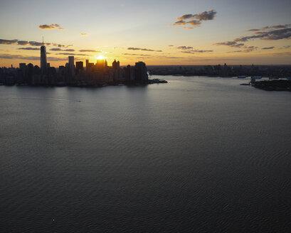 USA, New York City, Aerial photograph of Lower Manhattan at sunrise - BCDF00040