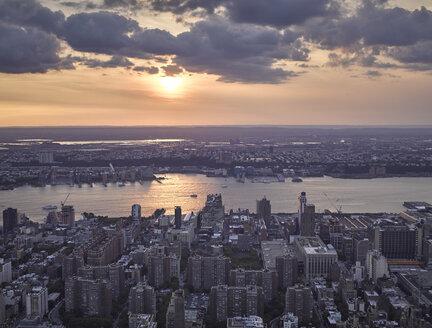 USA, New York City, Aerial photograph of Midtown Manhattan at twilight - BCDF00049
