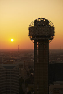 USA, Texas, Dallas, Aerial photograph of the Reunion Tower at sunrise - BCDF00061