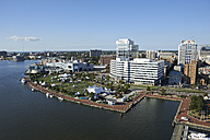 USA, Virginia, Aerial photograph of downtown Norfolk waterfront along the Elizabeth River - BCD00067