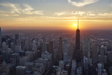 USA, Illinois, Aerial photograph of downtown Chicago in the early evening - BCDF00076