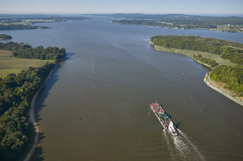 USA, Maryland, Aerial photograph of a tug and barge entering the Elk River - BCDF00091
