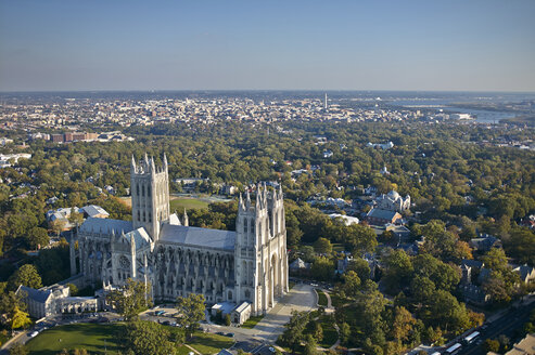 USA, Washington, D.C., Aerial photograph of National Cathedral - BCDF00109