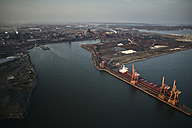 USA, Maryland, Aerial photograph of the old Sparrows Point steel mill and boat works in Baltimore - BCDF00130