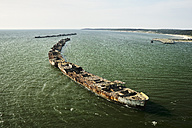 USA, Aerial photograph of sunken ships forming a bulkhead along the Eastern Shore of Virginia shoreline of the Chesapeake Bay - BCDF00145