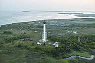 USA, Aerial photograph of a barrier island lighthouse on Virginia's Eastern Shore - BCDF00148