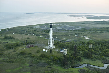 USA, Aerial photograph of a barrier island lighthouse on Virginia's Eastern Shore - BCDF00148