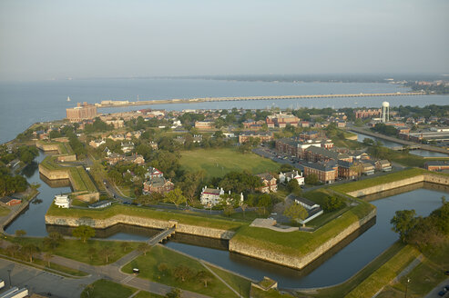 USA, Virginia, Aerial photograph of Fort Monroe in Hampton - BCDF00151