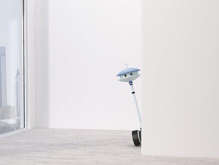 Little robot peeping around corner - UWF00996
