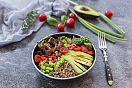 Fried chicken, quinoa, tomato, avocado, spring onion, rosemary and basil in bowl - SARF02926