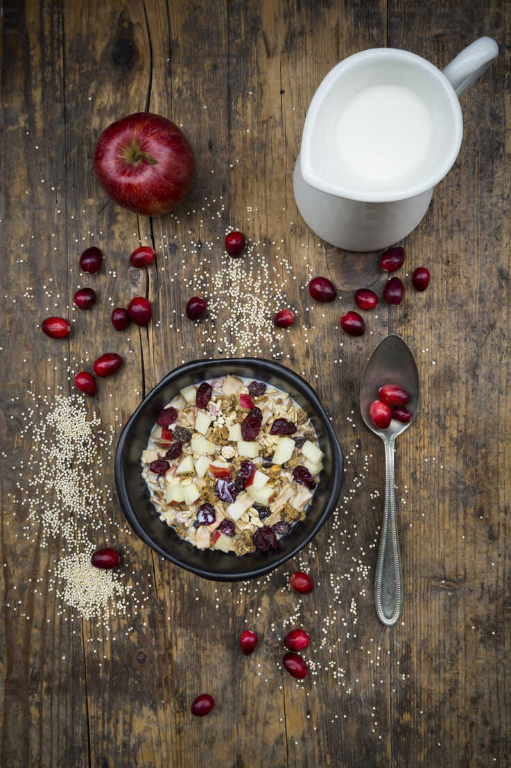 Muesli with puffed quinoa, wholemeal oatmeal, raisins, dried cranberries and apple - LVF05354 - Larissa Veronesi/Westend61