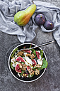 Bowl of baby chard salad with pear, figs, walnuts and feta - SARF02933