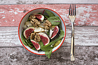 Bowl of baby chard salad with pear, figs, walnuts and feta - SARF02936