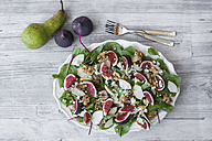 Platter of baby chard salad with pear, figs, walnuts and feta - SARF02939