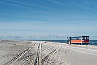 Denmark, Skagen, Grenen, tractor with trailer the beach - MJF02008