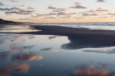 Denmark, North Jutland, tranquil beach at sunset - MJF02062