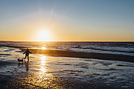 Denmark, North Jutland, boy with dog on beach at sunset - MJF02080