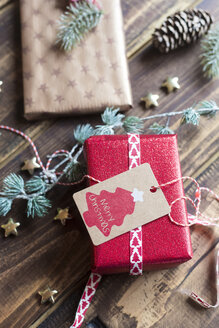 Christmas decoration and wrapped presents on wood - SARF02945
