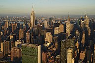 USA, New York State, New York City, business district in the morning, Empire State building, Chrysler building right, and the United Nations Headquarter in the lower left - BCDF00163