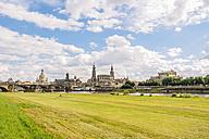 Germany, Saxony, Dresden, historic city center at River Elbe, Elbe meadows - KRPF01861