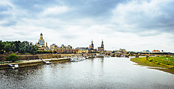 Germany, Saxony, Dresden, historic old town with Elbe River in the foreground - KRPF01864