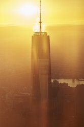 USA, New York, New York City, World Trade Center and Hudson River at sunrise - BCDF00190