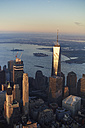 USA, New York, New York City, cityscape with World Trade Center and Hudson River and New York Harbor - BCDF00193