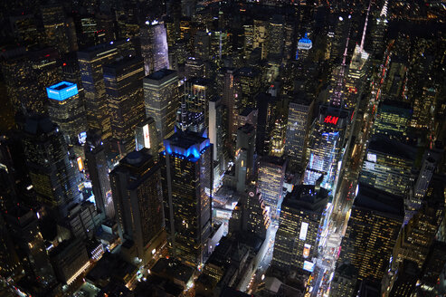 USA, New York, New York City, Aerial view of Times Square at night - BCD00211