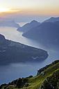 Switzerland, Canton Schwyz, Fronalpstock, View to Lake Lucerne at sunset - HLF00995