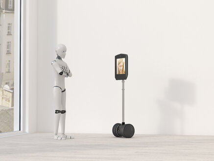 Robot at video conference, 3D Rendering - AHUF00253