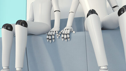 Two robots in love, 3D Rendering - AHUF00259